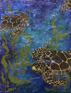 """""""Turtles Swimming Free"""" by Sue Clover. Layers of paint and medium give illusion of depth. Turtle Swimming, Stencil Painting, Alaska, Illusions, Stencils, Mixed Media, Turtles, Cards, Layers"""