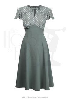 7fa14d97692 1940s Grable Tea Dance Dress in Sage Green Polka Dot 1940s Fashion Dresses