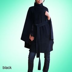 black cashmere poncho coat