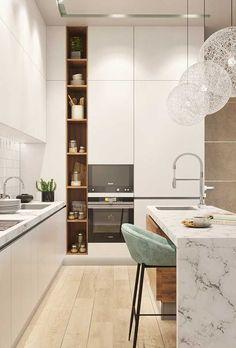 design de interior de cozinha com ilha \ design de interior de cozinha Kitchen Room Design, Modern Kitchen Design, Home Decor Kitchen, Interior Design Kitchen, Home Kitchens, Kitchen Tiles, Küchen Design, House Design, Shelf Design