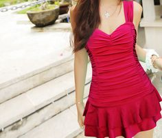 Women Red Strap Swimsuit Skirt Swimsuit Girl Swimming Dress Swimming Clothes With Integrated Bottom