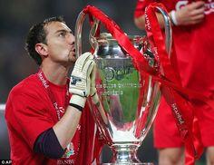 Trophy win: Dudek kisses the Champions League after saving Andriy Shevchenko's penalty in ...