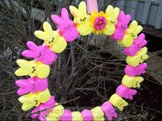 I am soo going to make a Peep Wreath for my front door... How cute is this!