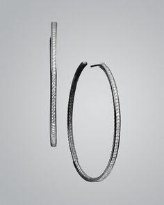 Pave Diamond Hoop Earrings. by David Yurman at Neiman Marcus.