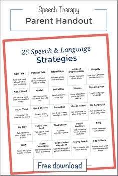 25 strategies Speech therapy at home providing early language development handouts — Speech and Language at Home Preschool Speech Therapy, Speech Therapy Activities, Speech Language Pathology, Speech And Language, Language Activities, Baby Activities, Sign Language, Learning Activities, Speech Therapy Organization