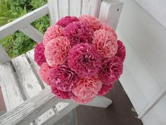 Large Pink Paper Carnations   Wedding Bouquet by PoshStudios, $80.00