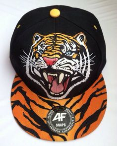 faa71f2acda Items similar to Custom hand painted Snapback Tiger Fever Black and yellow  hat with tiger face and tiger striped bill on Etsy