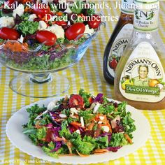 Kale Salad with Almonds, Jicama and Dried Cranberries Cooked Kale Recipes, How To Cook Kale, Sauteed Kale, Garlic Butter Sauce, Kale Salad, Dried Cranberries, Healthy Salads, Stuffed Peppers, Vegetables