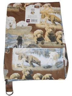"""Wild Wings Pets At Home Brown 100% Cotton Dog Printed Full Apron 26""""x32.5"""" New"""