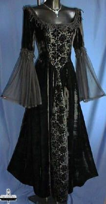 Black Velvet Gothic Dress With Brocade Panel & Chiffon Sleeves