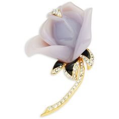 Kenneth Jay Lane Pave Enamel Rose Pin ($75) ❤ liked on Polyvore featuring jewelry, brooches, purple, purple brooch, enamel jewelry, rose jewelry, pave jewelry and rose brooch