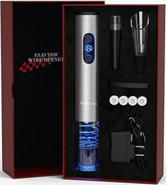 Electric Wine Opener with Charger- Wine Accessories Holiday Gift Set Holiday Kit with Batteries and Foil Cutter