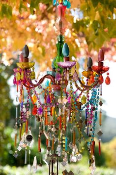 "A previous pinner says it all, ""Beautiful colourful chandelier. I'm not sure if it's functional but it sure is pretty."""