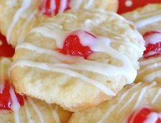 Uncle Bill's Whipped Shortbread Cookies. Simple to make (I don't even use a mixer, just a wooden spoon and a bowl) and people go crazy for these! TIPS: I chill the dough before baking, and use parchment paper on cool cookie sheets. Putting the dough on hot cookie sheets makes them burn on the bottom. And I like to use one almond, or a dried Italian cherry in the center. Bake at 340 degrees. Finally, I make a thin powdered sugar glaze and lightly drizzle the cooled cookies with icing. Pretty.