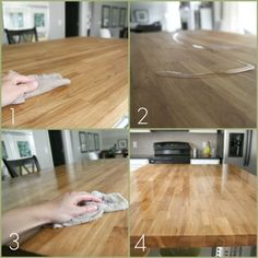 How to care for your butcher block counter tops: http://www.housetweaking.com/2011/06/24/butcher-block-countertop-maintenance/