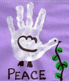 Carimbo de mão pomba pombinha da Paz.