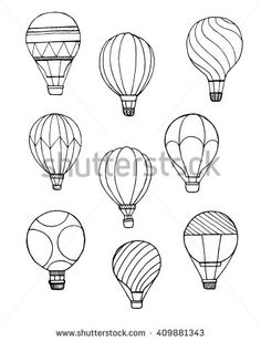 Black and white hot air ballon in the sky, doodle vector illustration - stock vector