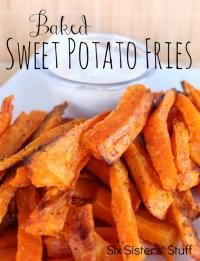 Baked Sweet Potato Fries Recipe from Six Sisters on MyRecipeMagic.com are so delicious! #sweet #potato #baked #fries