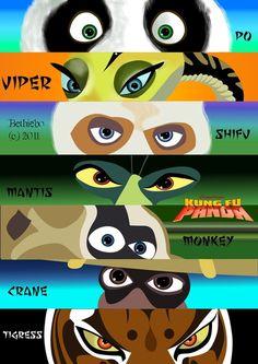 Kung Fu Panda: Po, Viper Shifu, Mantis, Monkey, Crane & Tigress