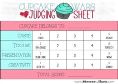 Image result for cupcake judging sheet