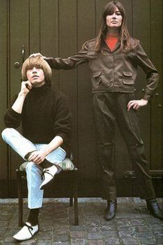 """Brian Jones was regarded as a fashion icon due to his rebellious and flamboyant style. His style of dress and manner did much to influence the fashion scene of swinging 1960s London. Anita Pallenberg has stated in an interview that he wanted to look like Françoise Hardy, he loved 'dressing up and posing about' and that he would ask her to do his hair and make-up."""" After he became famous, he was known to walk deliberately in crowded streets until girls would start chasing him - Keith Richards"""