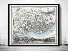 Old Map of Lisbon Lisboa Portugal mapa antigo 1844  This is a reprodution vintage map. Engraved map with inset and view. Relief shown by hachures.