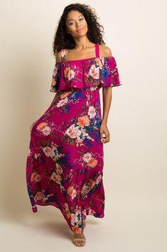 5f3bb6e9d634 Magenta Floral Ruffle Open Shoulder Maxi Dress