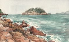 Sketching in Hong Kong. Shek O. Watercolor and ink marker on Moleskine sketchbook. By Adolfo Arranz