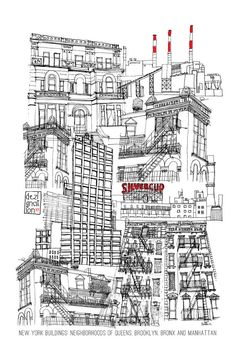 Hand drawn #illustration of New York #buildings by Dezignation, $29.00
