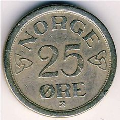 Norway Norwegian 25 Twenty Five Ore Coins Europe Coins For Sale, Norway, The Twenties, Europe