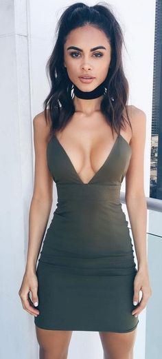 Military Green Little Dress Source