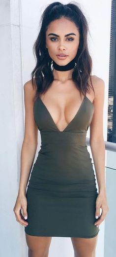 Military Green Little Dress                                                                             Source