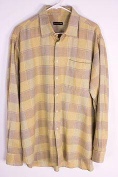 Bergdorf Goodman Mens L or XL? Yellow Brown Plaid Thick Cotton Flannel Button Up #BergdorfGoodman #ButtonFront