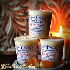 ABUNDANCE Votive CANDLE. All Natural White by WhiteWitchParlour  ABUNDANCE Votive CANDLE. All Natural White Copal Resin, Grapefruit Essential Oil & Citrine Crystal gemstone Organic candle spell magic wicca