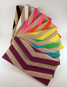Handpainted Custom Color Chevron Envelope Clutch by BelledeBenoir, $20.00