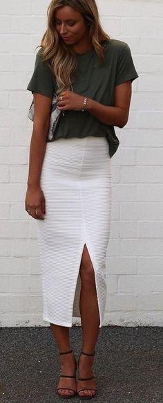 Khaki Shirt + White Midi Skirt                                                                             Source
