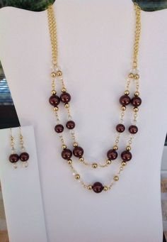 Handmade Double Stand Rich Brown Glass Pearl Necklace and Earring Set on Etsy, $26.00