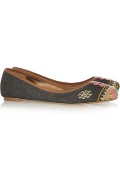 12th Street by Cynthia Vincent Sage embroidered twill ballet flats