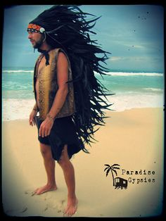 Black Long Full Feather Headdress With Orange Traditional Bead Detail by Paradise Gypsies