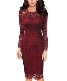 EvelynNY Women Long sleeves Bow Lace Cocktail Prom Party Sheath Lined Midi Dress *** Click image for more details. (Note:Amazon affiliate link)