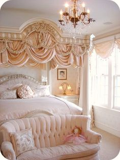 Wow! Would love to stay in room like this. The canopy bed is awesome in blush with elegant draping fabric!