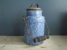 Graniteware Blue Milk Pail Cream Can Enamelware Metal by KTsAttic, $35.00