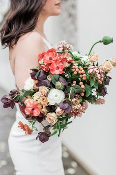 unique summer bouquets - photo by Gina Neal Photography http://ruffledblog.com/portland-coffee-lovers-elopement-inspiration