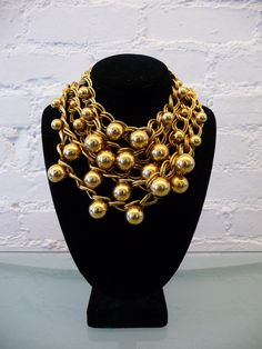 vintage yves saint laurent ball and chain bib necklace