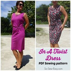 A pretty and flattering twist front dress pattern. For knit fabrics, this dress is elegant and sophisticated, looks complicated yet is an easy sew.
