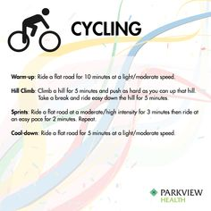 A full week of workouts inspired by Rio - Try this #cycling workout with a warmup, hill climb, sprints and cooldown | via @ParkviewHealth