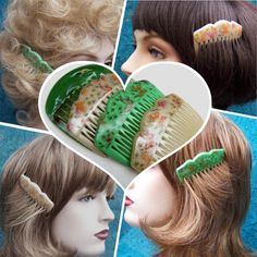 Vintage hair combs 4 celluloid hair accessories by ElrondsEmporium