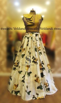 Beautiful white color floral skirt pairedup with ruffle crop top. Indian Designer Outfits, Indian Outfits, Designer Dresses, Lehnga Dress, Indian Gowns Dresses, Lehenga Designs, The Dress, Blouse Designs, Crop Top Designs