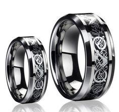 His & Her's 8MM/6MM Dragon Design Tungsten Carbide Wedding Band Ring Set (Available Sizes 5-14 Including Half Sizes) Please e-mail sizes Tungsten Ring Set. $39.99. Width: 8MM for Him & Width: 6MM for Her. This ring can be worn as a Wedding Band or Promise Ring by men or women. Genuine Tungsten Carbide (Cobalt Free) Beware of Imitated Replicas. Intricate Celtic Dragon Design ,Genuine Authentic, Best Price you can find for a set ring.. His & Her's 8MM/6MM Dragon Design Tun...