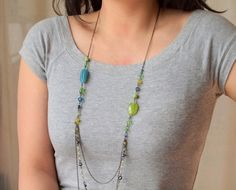 Long Layered Necklaces   Teal and Lime long layered necklace in black by sianykitty on Etsy